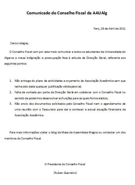 Comunicado do Conselho Fiscal da AAUAlg